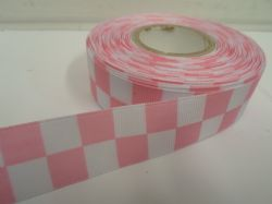 Baby light Pink & White 2 metres or 20 metre roll x 25mm Grosgrain ribbon square chequered block race track finish line